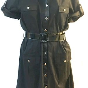 AGB Dresses - AGB Black Button Front Shirt Dress    #RB